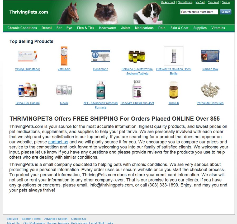 Thriving Pets - Magento ecommerce website - Quality Affordable website design by Cubix Web Solutions